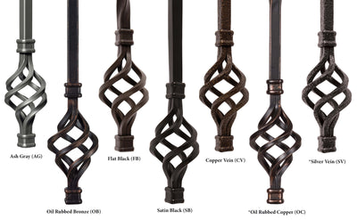 "Ribbon Series 1/2""Square x 44""H Single Ribbon and Double Butterfly Hollow Iron Baluster (9015RS)"