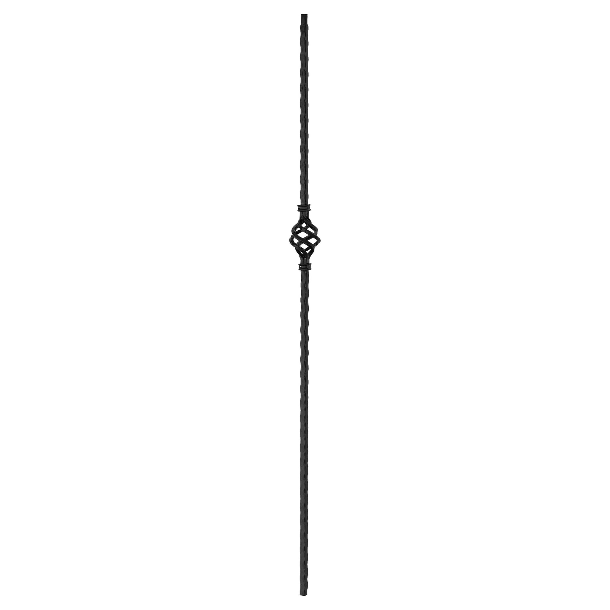"Corner Hammered Series 9/16"" Square x 44""H Single Basket Solid Iron Baluster (PC10/1)"