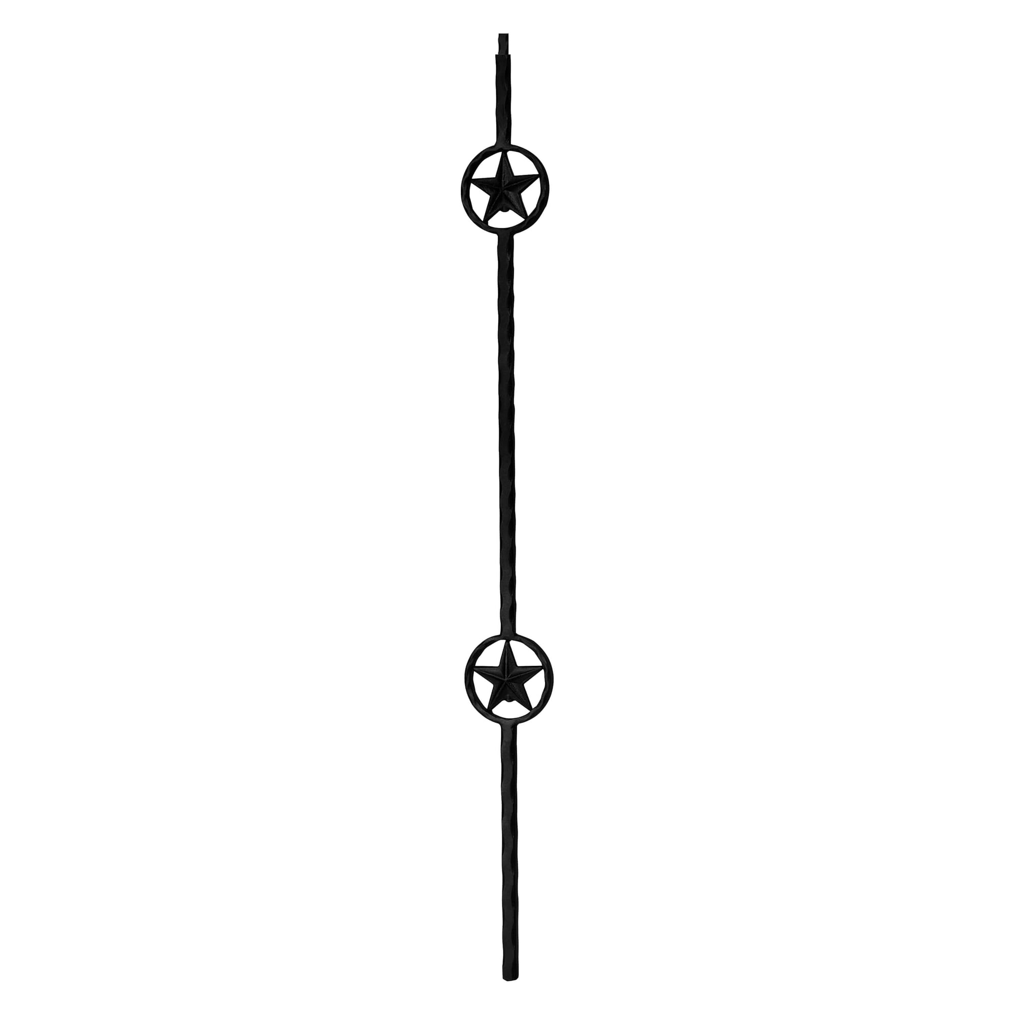 "Corner Hammered Series 5/8"" Square x 44""H Double Star Solid Iron Baluster (PC52/2)"
