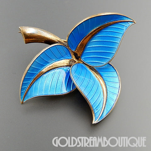 Albert Scharning Norway 925 sterling silver blue enamel leaves brooch pin