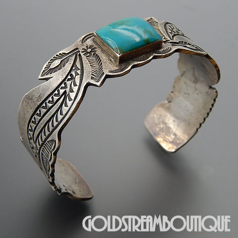 NATIVE AMERICAN UNIQUE THOMPSON PLATERO NAVAJO STERLING SILVER TURQUOISE INDIAN CHIEF STAMP CUFF