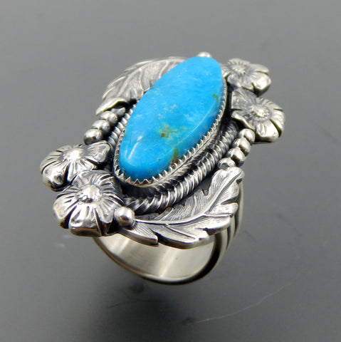 Handcrafted sterling silver oval turquoise feathers beads flowers ring - size 8