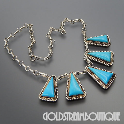 NATIVE AMERICAN RUNNING BEAR SHOP STERLING SILVER TRIANGLE TURQUOISE SOUTHWESTERN NECKLACE 17.5""