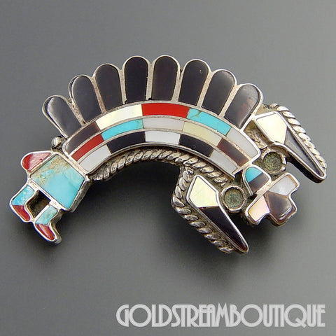 NATIVE AMERICAN VINTAGE ZUNI SIGNED STERLING SILVER GEMSTONE INLAY RAINBOWMAN ZUNI PIN PENDANT