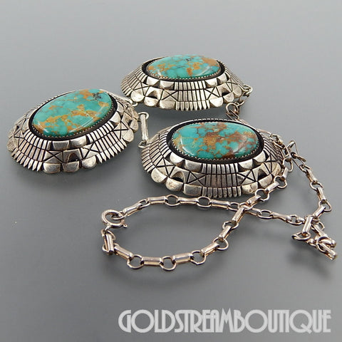 NATIVE AMERICAN TOM LEWIS NAVAJO 925 SILVER STUNNING GREEN AMERICAN TURQUOISE HEAVY NECKLACE