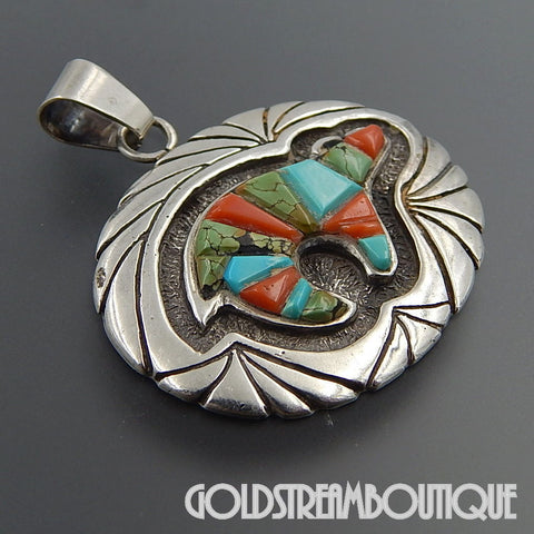 Native American Ervin Hoskie Navajo sterling silver turquoise coral inlay bear fetish pendant
