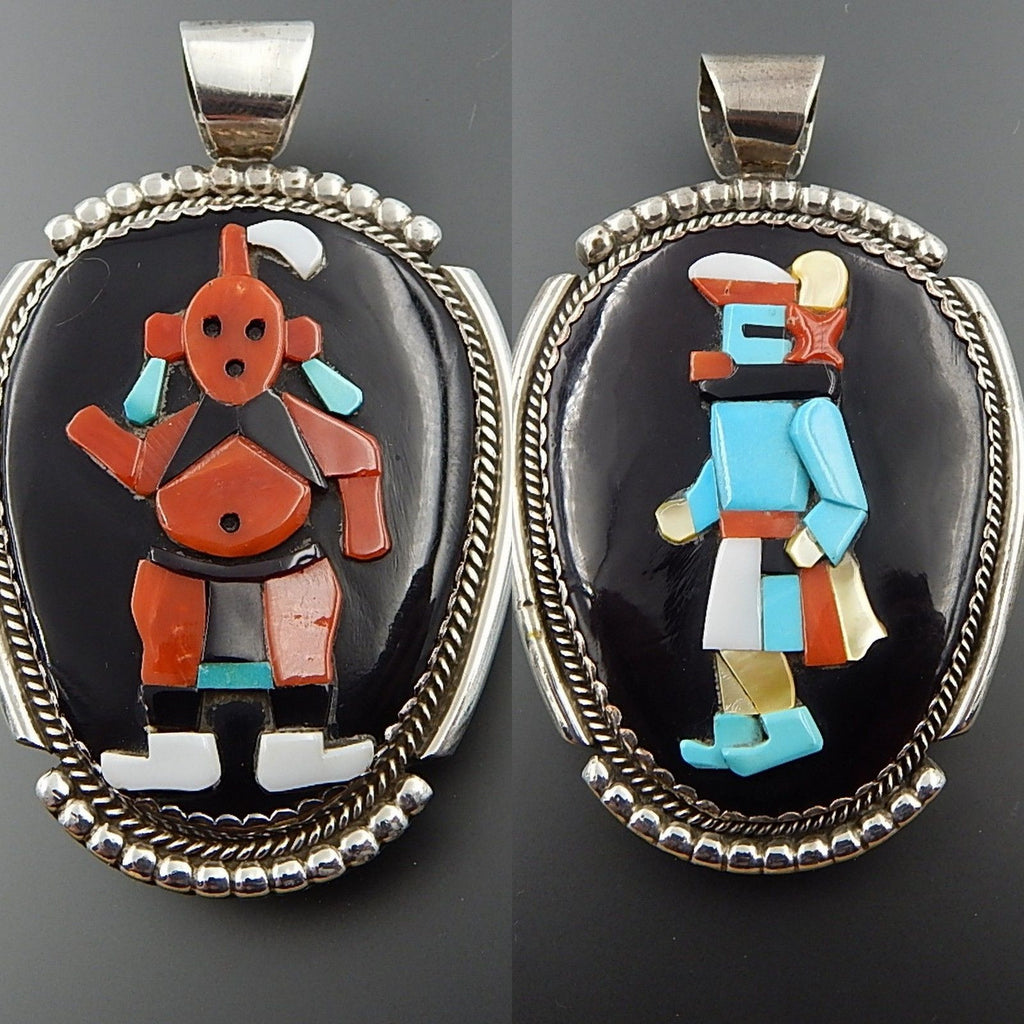 Native American Beverly Etsate zuni sterling silver gemstone kachina reversible pendant