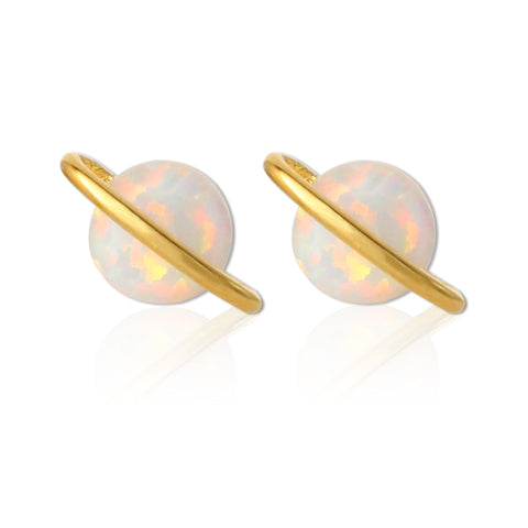 Golden Accent Scallop and Mother of Pearl Circles Earrings