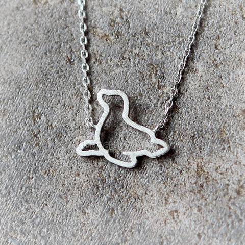 Baby bat necklace in matte silver