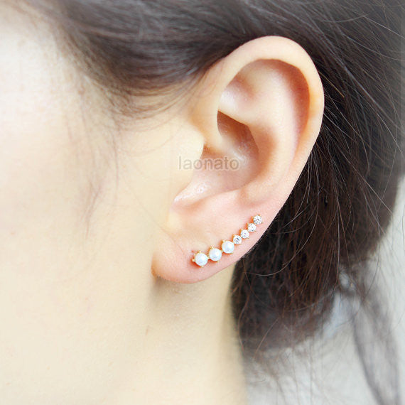 Little CZ and Fake Pearls Ear Climber