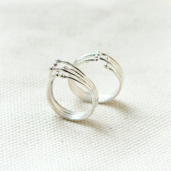 Lines and Balls Ring in sterling silver