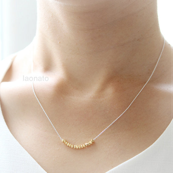 Gold Nuggets Necklace in 925 sterling silver