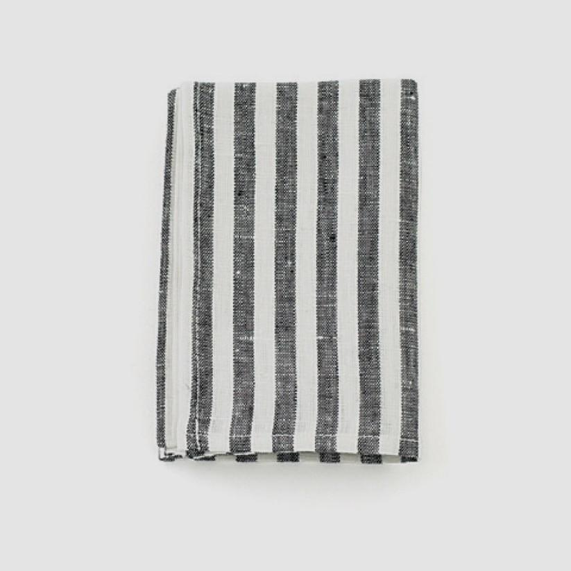 Fog Linen Kitchen Cloth Black White Stripe - Tea and Kate
