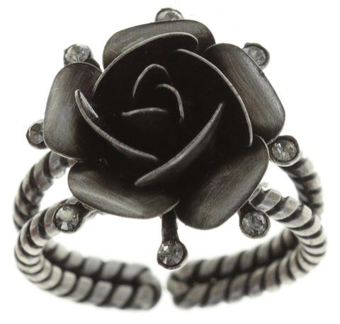 ring Indian Roses grey antique silver large