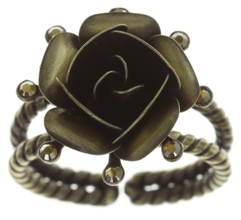 ring Indian Roses beige antique brass large