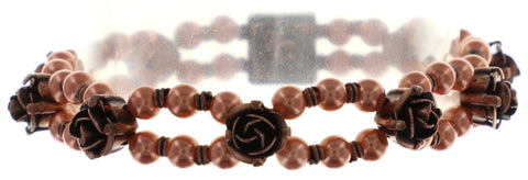 bracelet elastic Indian Roses pink antique copper extra small