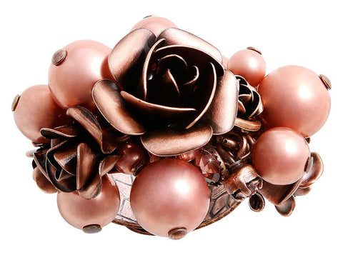 ring Indian Roses pink antique copper large, medium, extra small