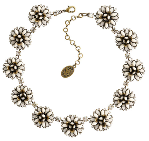 necklace choker long Lotus Flower white antique brass size M