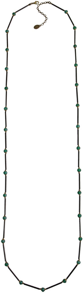 necklace Beat of the Beads green antique brass