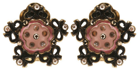 earring clip Burlesque black/pink Very Light Antique Brass