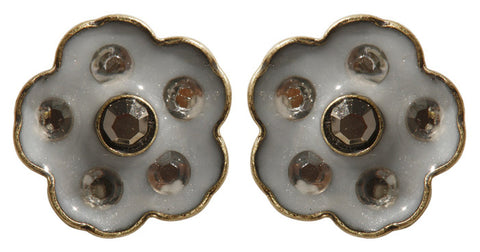 earring stud Burlesque beige/white Very Light Antique Brass