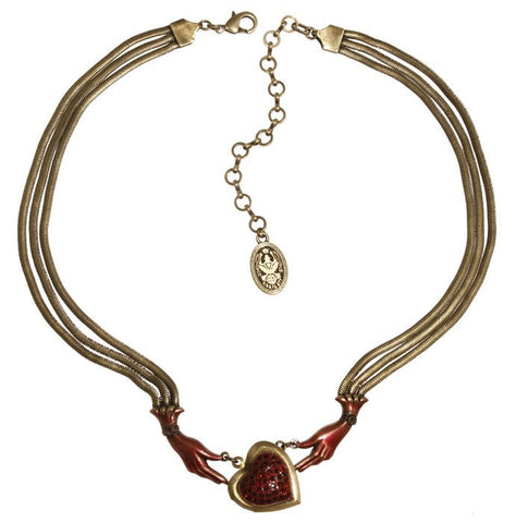 necklace Burlesque red Very Light Antique Brass