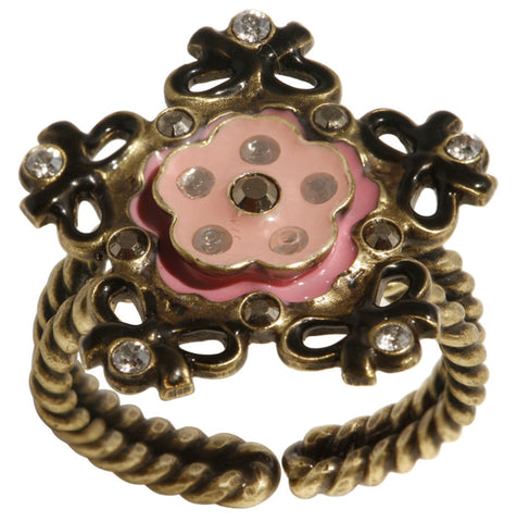 ring Burlesque black/pink Very Light Antique Brass