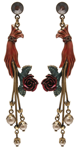 earring stud dangling Burlesque red Very Light Antique Brass