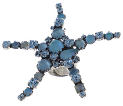 ring Jelly Star blue Light antique silver size XL