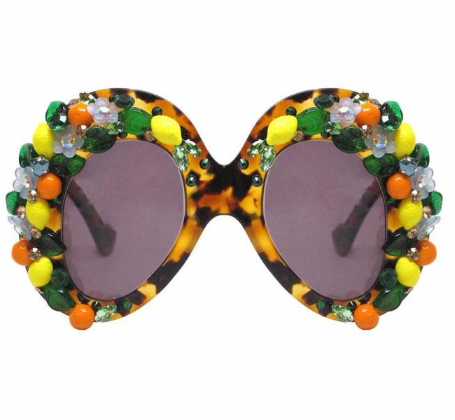 A-Morir Eyewear - Winston Citrus Tortoise Mask With Fruit and Crystals