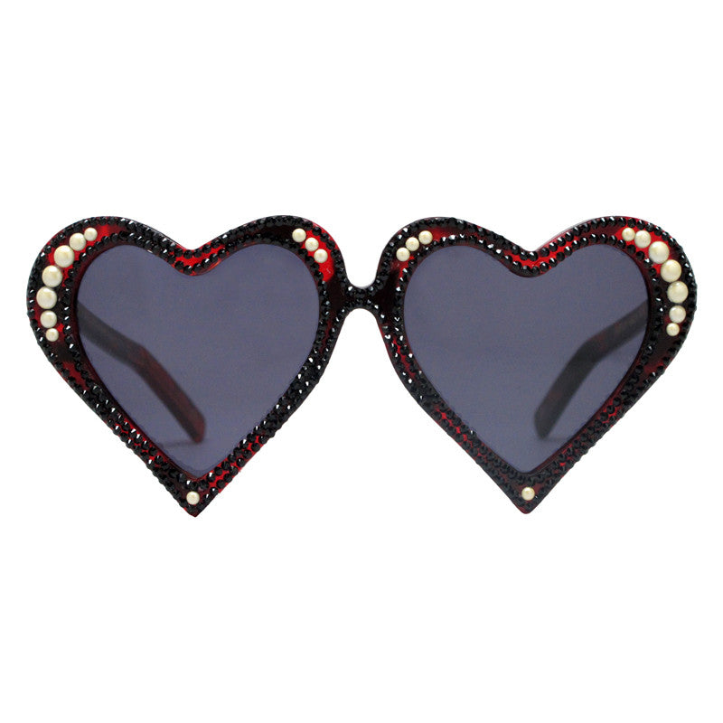 McCready crystal adorned gold heart shaped sunglasses