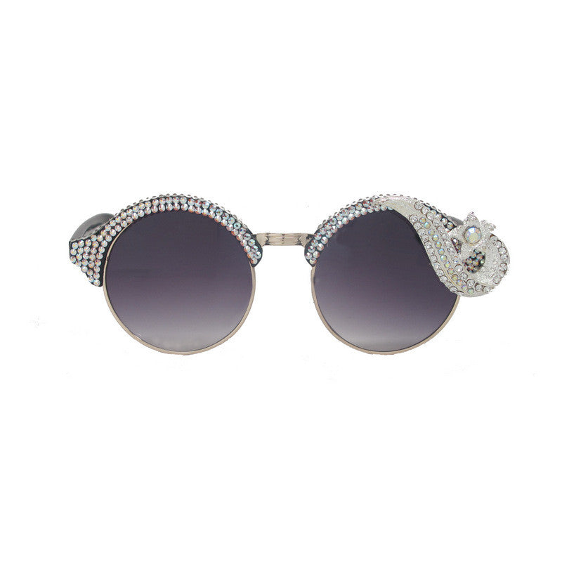 Piaf retro crystal round sunglasses