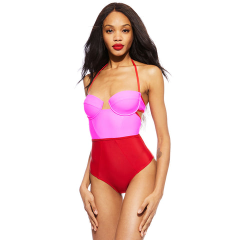 X Bustier Suit - Pink/Red