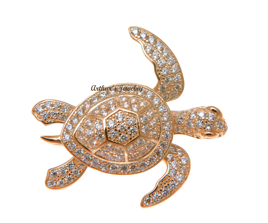 ROSE GOLD PLATED 925 STERLING SILVER HAWAIIAN SEA TURTLE SLIDE PENDANT CZ