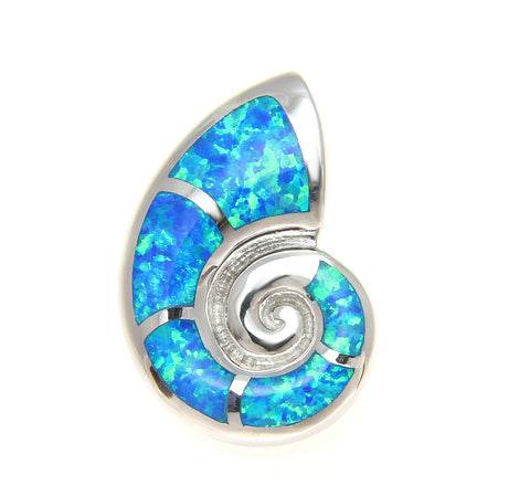 925 Sterling Silver Rhodium Hawaiian Nautilus Shell Blue Opal Slider Pendant