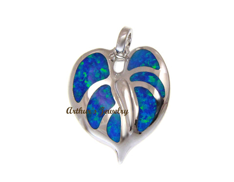 INLAY OPAL HAWAIIAN ANTHURIUM FLOWER PENDANT SOLID 925 STERLING SILVER 19MM