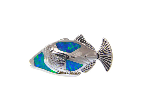 INLAY OPAL HAWAIIAN HUMUHUMUNUKUNUKUAPUA FISH SLIDE PENDANT 925 STERLING SILVER