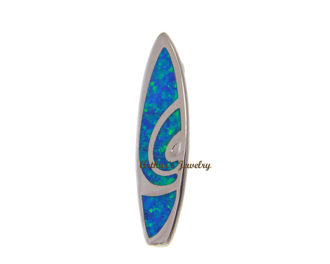 INLAY OPAL HAWAIIAN SURFBOARD SLIDE PENDANT SOLID 925 STERLING SILVER 10.25MM