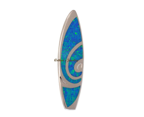 INLAY OPAL LARGE HEAVY HAWAIIAN SURFBOARD SLIDE PENDANT 925 STERLING SILVER