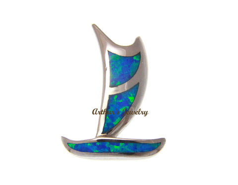 INLAY OPAL HAWAIIAN POLYNESIAN VOYAGING CANOE SLIDE PENDANT 925 STERLING SILVER