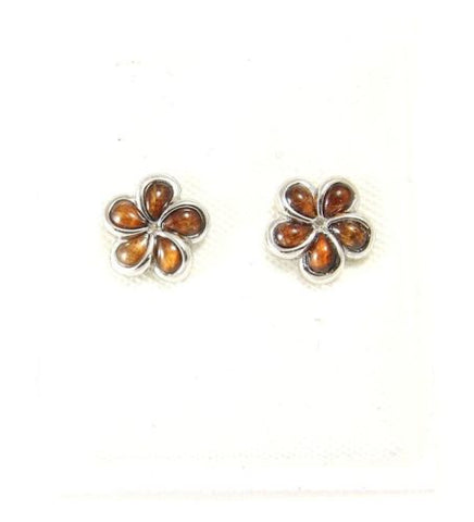 GENUINE INLAY HAWAIIAN KOA WOOD PLUMERIA FLOWER EARRINGS 925 SILVER 8MM -15MM