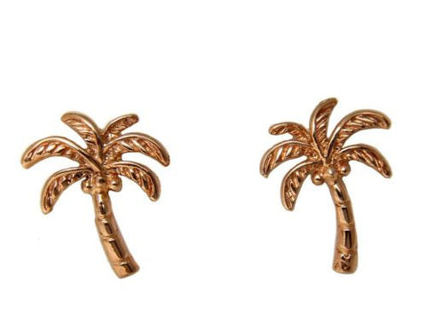 SOLID 14K ROSE GOLD HAWAIIAN PALM TREE STUD POST EARRINGS 11.75MM