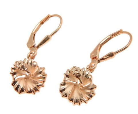 YELLOW ROSE GOLD PLATED SILVER 925 HAWAIIAN HIBISCUS LEVERBACK EARRINGS 10MM