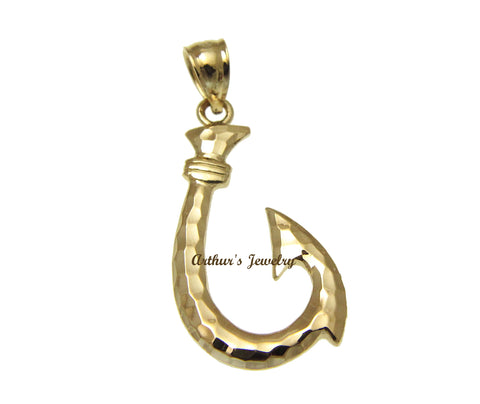 14K YELLOW GOLD 2 SIDED HAWAIIAN FISH HOOK PENDANT SMOOTH DIAMOND CUT 17.20MM