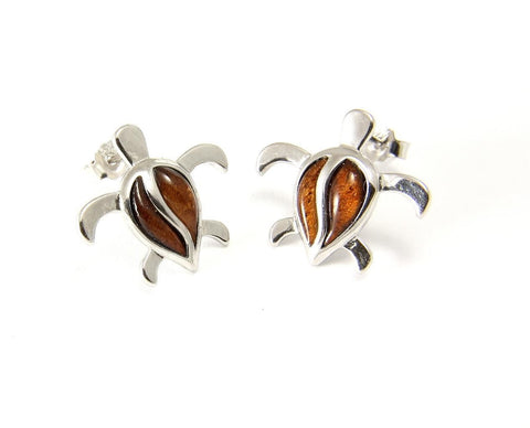 GENUINE INLAY HAWAIIAN KOA WOOD HONU TURTLE POST STUD EARRINGS SILVER 925 SMALL