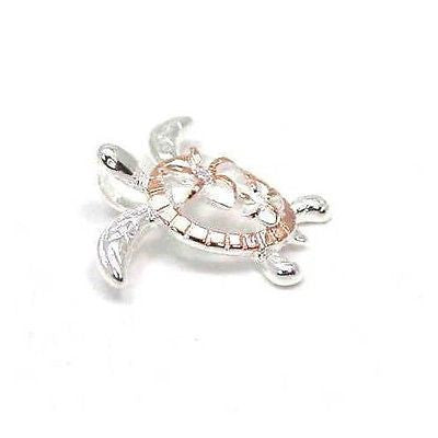 ROSE GOLD PLATED SILVER 925 HAWAIIAN LARGE SMALL PLUMERIA HONU TURTLE PENDANT PG