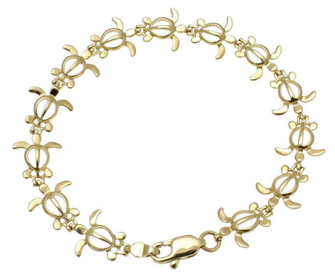 SOLID 14K YELLOW GOLD HAWAIIAN PETRO HONU TURTLE BRACELET LOBSTER CLASP 7 INCH