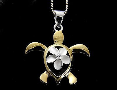 SILVER 925 HAWAIIAN PLUMERIA FLOWER YELLOW GOLD PLATED HONU TURTLE PENDANT