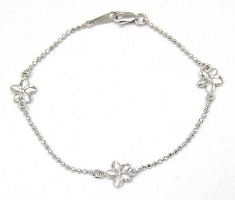 SOLID 14K WHITE GOLD 2 SIDED HAWAIIAN PLUMERIA DIAMOND CUT BEAD CHAIN BRACELET