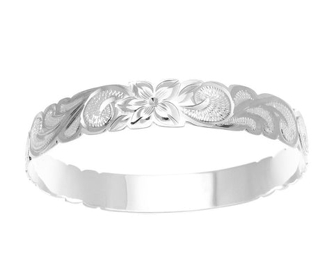 SILVER 925 HAWAIIAN BANGLE BRACELET ALOHA PLUMERIA FLOWER SCROLL CUT OUT 12MM